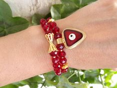 Set of Two BraceletsRuby Red Crystal Beads BraceletEvil Eye