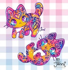 Lisa Frank inspired colouring 💖🧡💛💚💙💜 Thought it would look nice in my style 😊💕 . Cute Disney Drawings, Cute Kawaii Drawings, Cute Animal Drawings, Kawaii Chibi, Kawaii Art, Anime Chibi, Anime Animals, Cute Animals, Unicornios Wallpaper