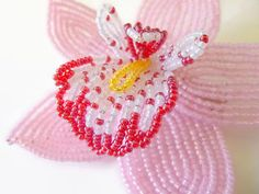 Beaded Cymbidium Orchid hair clip in Pink от LaurenHCreations