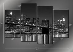 Framed Hugh 4 Panel Canvas Art New York NY by ModernWallDeco, $115.00