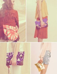kimono bag and clutches from Grace Design, via Fly