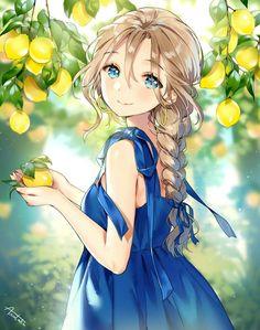 """anime girl, original art by """"ancotaku Anime Chibi, Manga Anime, Manga Kawaii, Kawaii Anime Girl, Anime Art Girl, Anime Girls, Fille Blonde Anime, Art Anime Fille, Manga Girl"""