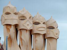 Chimney tops on Gaudi-designed home, Barcelona