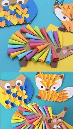 Woodland Animal Craft CARDBOARD OWL FOX HEDGEHOG WOODLAND ANIMAL CRAFT. Cute recycled kids craft and art. #hellowonderful<br> This adorable owl, fox, hedgehog woodland animal craft makes a cute recycled fall craft for kids! All you need is cardboard and paper to get started. Sea Animal Crafts, Giraffe Crafts, Bear Crafts, Animal Crafts For Kids, Winter Crafts For Kids, Paper Crafts For Kids, Preschool Crafts, Spring Crafts, Snake Crafts