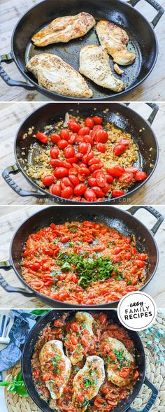 BEST Easy Chicken Breast Recipe! This healthy dinner can be made fast in just one skillet! It combines seasoned tender chicken breast in a homemade pomodoro sauce full of fresh tomatoes, onions, garlic, and herbs. I never knew cooking sauce from scratch was SO EASY, and boy is it delicious! This is a one pan meal you will want to add to the regular meal rotation! Yummy Chicken Recipes, Yum Yum Chicken, Healthy Recipes, Yummy Recipes, Fast Recipes, Turkey Recipes, Healthy Eats, Dinner Recipes Easy Quick, Recipes