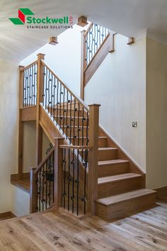 metal spindles, bullnose step, dogleg in solid oak Timber Staircase, Staircase Design, Stairs, Staircase Manufacturers, Metal Spindles, Bespoke Staircases, Traditional Staircase, Traditional Looks, Solid Oak