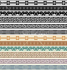 Greek border pattern design elements vector.