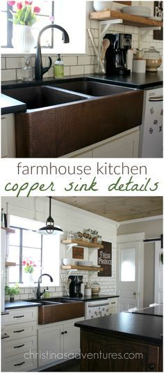 Farmhouse kitchen with copper sink details - I always wondered about copper sinks!