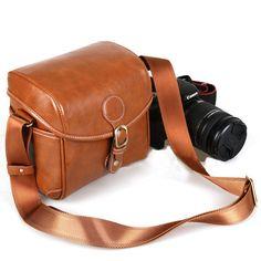 Crossbody Camera Bag Small Leather DSLR by camerasbagstraps