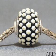 Handmade Lampwork Glass European Charm Bead Black & by AKDlampwork, $32.00