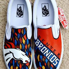 Denver Broncos vans shoes Denver Broncos Memes, Broncos Gear, Go Broncos, Broncos Fans, Painted Vans, Painted Sneakers, Painted Shoes, Blue Crush, Orange Crush