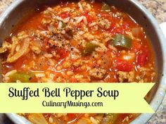 Dutch Oven Stuffed Bell Pepper Soup Recipe... I'm going to make this in the slow cooker and add spinach to the veggie list, top it off with feta when all is said and done!