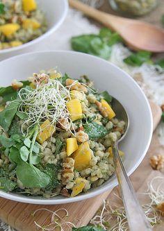 Barley Mango Salad with Avocado Yogurt Dressing