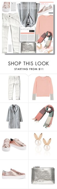 """""""On Trend: Winter White Denim"""" by prigaut ❤ liked on Polyvore featuring Abercrombie & Fitch, Chinti and Parker, Aamaya by priyanka, Rebecca Minkoff, Anya Hindmarch, ontrend and winterwhitedenim"""