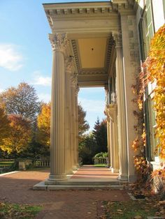 Eastman house front entrance columns - photo backdrop