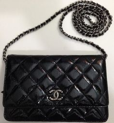 Chanel Quilted Wallet on Chain in Patent