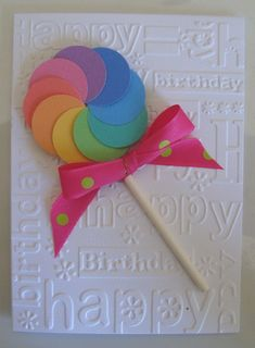 kid's birthday card - Credit to: happystampingdesigns.blogspot.com for the idea. Made with paper pad Colorbok Summer Pastel Textured Card Stock from Walmart.