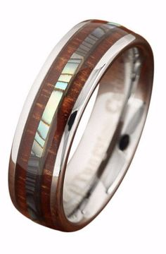 6mm Tungsten Genuine Koa Wood and Abalone Center