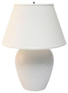 Contemporary Haeger Potteries White Ceramic Basket Table Lamp contemporary table lamps