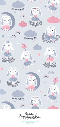 new ideas for baby wallpaper pattern design Baby Wallpaper, Pattern Wallpaper, Pink Rabbit Wallpaper, Nursery Patterns, Nursery Prints, Nursery Decor, Nursery Design, Textile Pattern Design, Textile Patterns