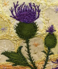 Knapweed, detail shot by Kirsten's Fabric Art, via Flickr....wool felt on linen, with lovely embroidery for details.  The patterns around the flower are very indicative of the accent designs used in old crazy quilts.