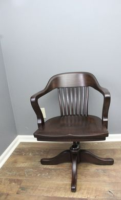 Price Reduced Antique Wooden Swivel Bankers Desk Chair Vintage