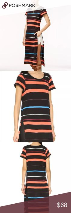 NWT FREE PEOPLE MAXI TUNIC DRESS WITH SIDE SLITS NWT FREE PEOPLE MAXI STRIPED TUNIC DRESS WITH SIDE SLITS    Stripes strike through this jersey Free People tunic. High side slits. Crew neckline. Short sleeves. Unlined.  Fabric: Jersey. 100% cotton. Wash cold. Free People Dresses