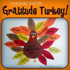 Last week we started our traditional Gratitude Turkey!   Every year in November, I make a turkey body and stick it to the wall. Then...