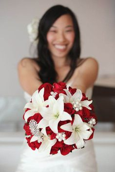 Flower inspiration - red roses and white lilies (silver accents)