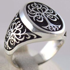 Fine Men Women 13mm Silver Simulated Turquoise Peace Sign Statement Ring Band