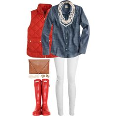 Red vest and chambray Vest Outfits, Preppy Outfits, Preppy Style, Cute Outfits, Winter Fashion Casual, Fall Winter Outfits, Autumn Winter Fashion, Red Puffer Vest, Red Vest
