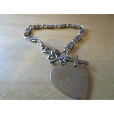 """New Listing Started vintage silvertone tiny bracelet with heart charm,anchor,cross 6""""long £2.55"""