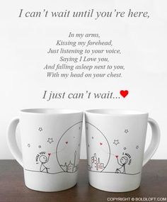 Miss Us Together™ Couple Mug Set is part of Relationship quotes - These couple coffee mugs are the perfect Valentines Day gifts for long distance boyfriend & girlfriend They'll keep your heart warm with reminders of your love Tu Me Manques, Distance Love, Long Distance, Love Quotes For Him, Cute Quotes, I Miss You Quotes For Him Distance, Sad Quotes, Girlfriend Quotes, Boyfriend Girlfriend