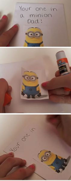 One in a Minion | Easy Homemade Fathers Day Cards to Make | DIY Birthday Cards for Dad from Daughter