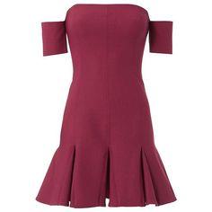 Cinq à Sept Women's Elva Off Shoulder Flare Dress ($385) ❤ liked on Polyvore featuring dresses, purple off the shoulder dress, short sleeve fit and flare dress, lining dress, off the shoulder dress and flare dresses