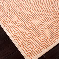 Machine Made Geometric Art Silk & Chenille Rug // Orange & Ivory (5'L x 7.6'W)