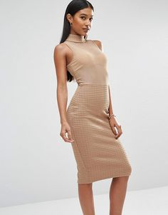 Bandage mesh dress by Club L. Dress by Club L Sheer mesh top High neckline Textured skirt Zip back fastening Close-cut body-con...