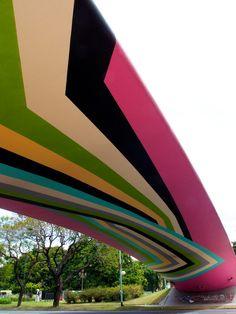 pedestrian overpass, architectur, color, bueno air, alcorta avenu