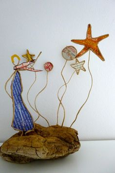 Le petit garçon aux étoiles - figurine en ficelle et papier