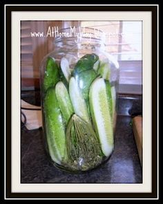 Best Dill Pickles EVER (Just like Clausen)  (Easy - No Canning!)  Ingredient list:      * 1 gallon cucumbers      * 1/3 cup dried minced onion       * 6 garlic cloves, peeled, and chopped small      * 1/2 tablespoon mustard seeds      * 6 heads fresh dill     * 1 1/2 quarts water      * 2 cups cider vinegar      * 1/2 cup canning salt  (do NOT use regular salt - use CANNING SALT)