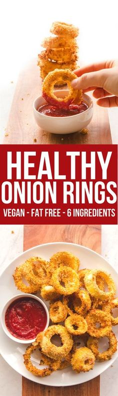 These Healthy Vegan Onion Rings are fat free and an easy side dish!