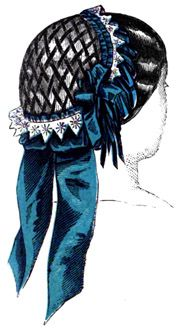 An 1857 headdress of white net, diced by black velvet ribbons, and bordered by blonde and blue ribbon of two different widths. An 1857 headdress of white net, diced by black velvet ribbons, and bordered by blonde and blue ribbon of two different widths. Civil War Hairstyles, Dress Hairstyles, Victorian Hats, Victorian Fashion, Vintage Fashion, Civil War Fashion, 1800s Fashion, Antique Clothing, Historical Clothing