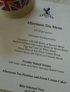 Afternoon High Tea Menu, at the Ritz, London.