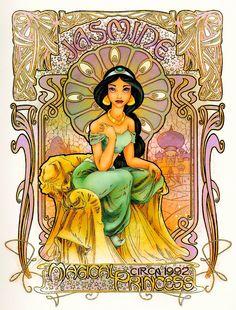 The Art Of Animation, Disney Art Nouveau Disney, Disney Princess Art, Disney Fan Art, Cinderella Art, Punk Princess, Disney Animation, Princesa Jasmine, Disney Illustration, Disney Jasmine
