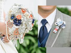 FULL PRICE Bridal Brooch Bouquet and Groom Boutonniere by SecretGardenBouquets #broochbouquet #bridalbouquet #coral #navy www.secretgardenbouquets.com
