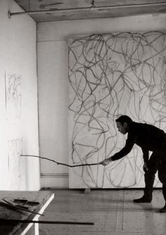 darksilenceinsuburbia: Brice Marden.   ...  Use long stick with ink and expressive drawing