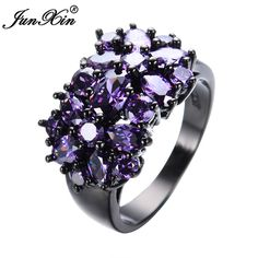 エレガントな紫黒ゴールド充填czリングユニークなデザインヴィンテージゴールドリングメッキパーティー結婚指輪女性クリスマスファッションジュエリーRB0040