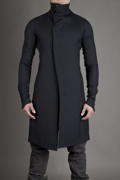 Blue/Black Fitted Coat, by Devoa FCT-NKH, Men's Fall winter Fashion.