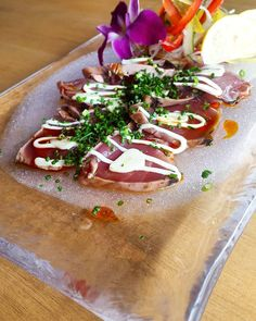 Katsuo Tataki Carpaccio. Katsuo Tataki or Katsuo no Tataki isna lightly seared and served as bonito carpaccio. - #katsuo #tataki #carpaccio #bonito #fish #sashimi #fresh #ebisuyarestaurant #eat #lunch #japan #japanese #jakarta #dinner #instagram #food #foodporn #l4l #likesforlikes #おいしい  #いただきます #日本料理 #えびす屋 #刺し身 by ebisuyarestaurant