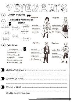 Vêtements fiche d'exercices - Fiches pédagogiques gratuites FLE